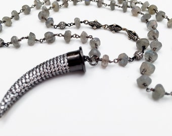Labradorite Beaded Necklace with CZ Dagger
