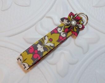 Key Fob - Key Chain - Fabric Key Fob - Key Fob Wristlet - Gray Pink Green