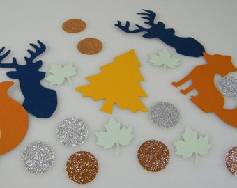 Woodland Baby Shower Decorations - Woodland Creatures Wild Animals - Table Confetti - Camping Party - Lodge Rustic - 100 pcs