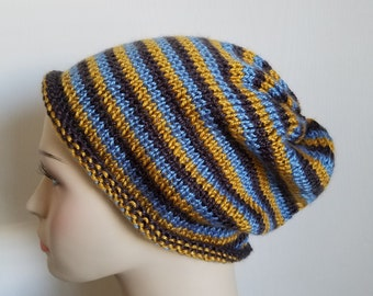 Striped Knit Slouch Hat in Blue, Gold, and Steel Grey