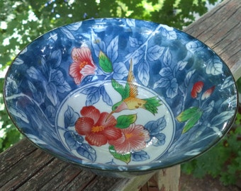 Vintage Andrea by Sadek Blue Rice Bowl with Humingbird and Flowers