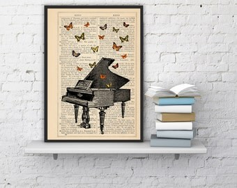 Summer Sale Butterflies over piano collage Print on Vintage Dictionary  page - book art print BFL086b