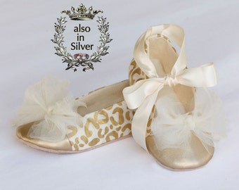 Easter Gold Baby Shoe, Gold Toddler Ballet Slipper, Animal Leopard Print, Little Girls Wedding Shoe, Holiday Baby Shoe, Baby Souls Shoes