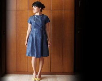 Mara denim dress, 100% cotton indigo chambray. Sizes S to XL. Made to order.
