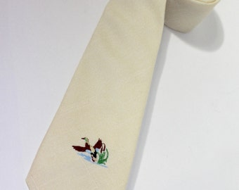 """vintage 1980's -Town Classic- Men's neck tie. 'New Old Stock' with price tag. Solid Pale Yellow - Linen look - Embroidered duck. 3"""" wide"""
