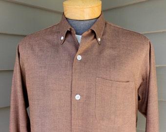 "vintage 1950's -McCall ""Ivy Leaguer""- Men's long sleeve NOS shirt. Rayon. Button down collar, top button loop and collar back button. Medium"