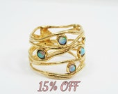 Gold opal ring. Wide wave14k yellow gold Opal ring. gift for her, birthday gift ideas, opal jewelry
