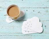 Rain Cloud coasters - white acrylic coasters with raindrop detail -  set of 4