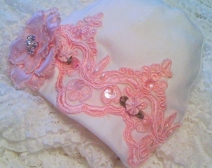 Newborn Girls' pink Lace Hospital Hat Layette