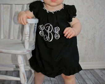Baby Girl Dresses Little Black Dress Baby Dress Monogram Baby Dress Newborn Baby Girl Clothing Newborn Girl Take Home Outfit Girls Baby Gift