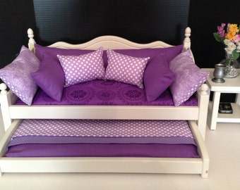 American Girl Doll: Furniture, trundle daybed with purple medallion bedding