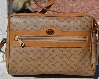 Authentic Vintage Tan Gucci Logo Shoulder Bag