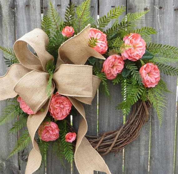Rose Wreath, Spring and Summer, Spring / Summer Wreath, Wedding Wreath, Coral Pink and Burlap, David Austin Style Roses, Artificial