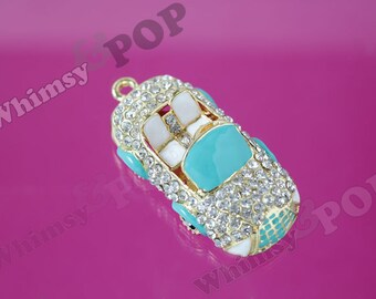 1 - 3D Gold Tone Blue Car Crystal Rhinestone Charm Pendant, Car Charm, Car Pendant, 60mm x 28mm (R9-019)
