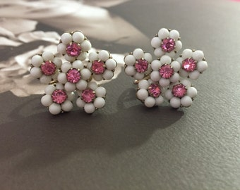 Pretty Pair Of Designer Signed Coro Screw Back Earrings Featuring Flower Clusters Adorned With Pink Sparkling Rhinestones