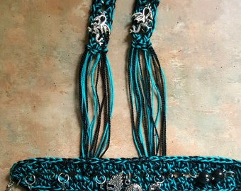 Unique Crocheted Bracelet and Earring Set/Dragons/Fringe/Boho