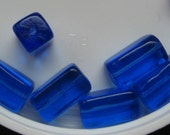 Vintage Art Deco Sapphire Rectangle Czech Glass Focal Point Beads 16x9mm QTY - 10 LAST ONES