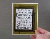 May you have more birthdays than 90% of the people in Game of Thrones- Olive Green Card and watercolor background- blank inside