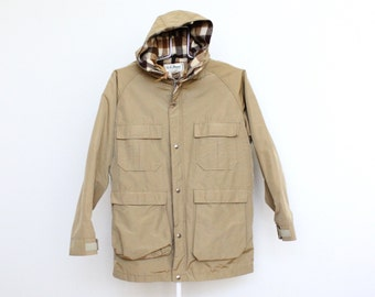 Vintage LL Bean Mens Mountain Parka Jacket Medium Tan Camel Khaki Hood Hooded Wool Blend L L Bean L.L. Bean Plaid 60/40