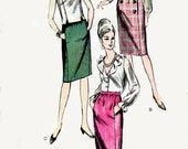 1960s Slim Skirt Pattern Vogue 6234 Mad Men Office Fashion Vintage Sewing Pattern Long or Knee Length Straight Skirt Waist 26