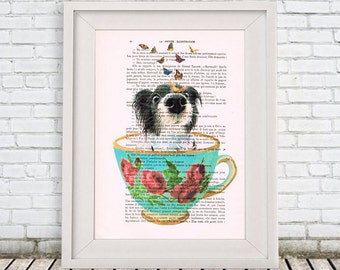 Dog Print, dog in teacup,Digital Illustration, dog Art, teacup Poster, Gift For Her, doggy in a teacup, teacup art, butterflies
