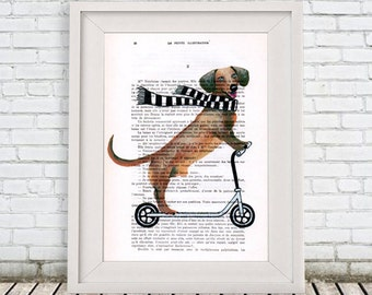Funny Dog Print, Doggy Room Decor,Art Poster,Dog on scooter,Digital Artwork, Black and White, Wall Art Prints, Dog Decor, Doggy Artwork