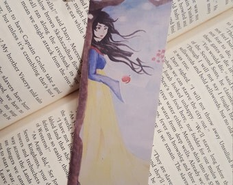 Snow White Bookmark with Beaded Tassel and  Apple Charm.