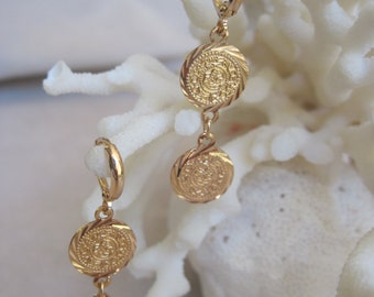 Doublle Coin Rose Gold Dangling Earrings
