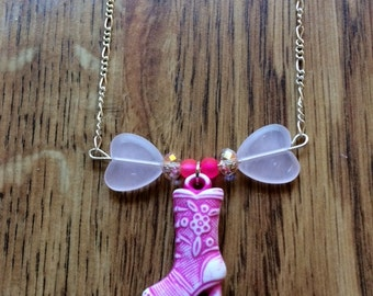 Little Girl Necklace, Cowgirl Necklace, Cowgirl Boot Necklace