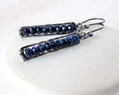 Deep Blue Sapphire Earrings Gemstone Jewelry Oxidized Wire Wrapped Sterling Silver Dangle Earrings September Birthstone Ready to Ship