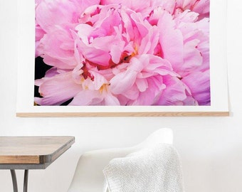 Pretty Pink Peony ready-to-hang oversized art print, unique large botanical flower nature home decor, housewarming gift new apartment decor
