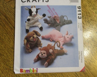 DIY BEANIE Bag Baby Animals - Puppy, Pig, Cow, Monkey & Elephant (Bambini) - UNCUT Sewing Pattern McCalls 626 / 9113