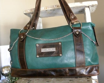 Leather one of a kind zippered shoulder bag purse, green and brown handbag
