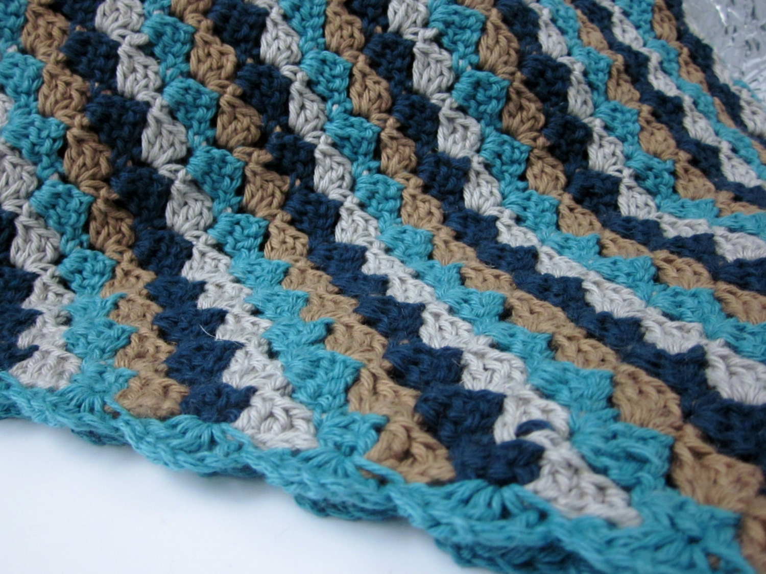 Navy Teal Tan And Grey Crochet Cotton Baby Blanket