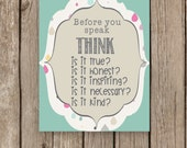 Before you Speak THINK Poster School Counselor Counseling Lunch Bunch Office Therapy Respect Character Pillars Digital Print Kindness