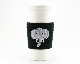 Coffee Cozy, Cup Cozy, Crocheted, Gray Elephant, White tusks, Sleeve, linen colored sleeve, gift for her, gift for him