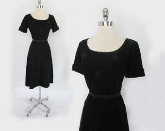 Vintage 1940's Black Dress / 1940's Knit Dress / Vintage Ribbon Dress / Polka Dot Dress L