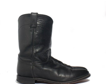 11.5 D | Men's Pull On Justin Ropers Basic Black Boot