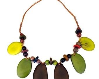 Green Tagua-Nut Necklace, Tagua Necklace, Boho Necklace, Macrame Jewelry, Boho, Bohemian