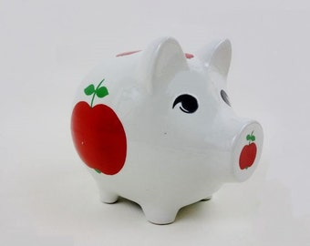 Vintage Big Piggy Money Bank White Porcelain with Red Apples