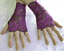 Purple Lace Arm Warmers Fingerless Gloves gothic glove - Ursula - Belly Dance goth gypsy boho bohemian hand fasting Floral fishnet lolita