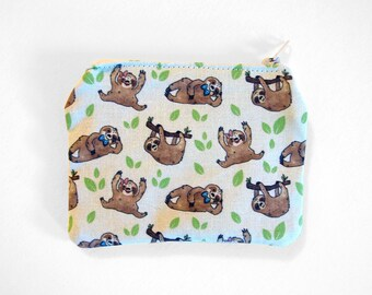 Cute Sloths and Leaves Pattern Cotton Coin Purse Zippered Pouch