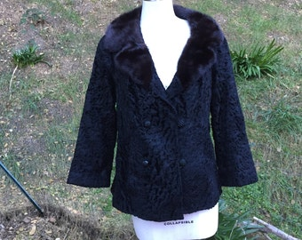 Vintage 50's 60's Fur Jacket Sz L curly lamb mink