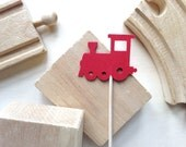 24 Train Cupcake Toppers, Party Decor, Baby Showers, Birthdays, Red, Double-Sided, Travel Theme