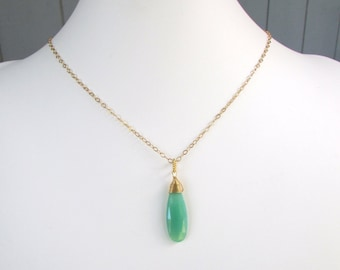 Chrysophrase Pendant, Gemstone necklace, 14 k gold filled wire wrapped extra long pendant drop