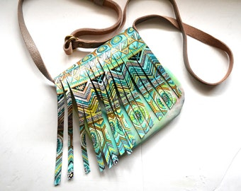 Hand Painted Leather Fringed Small Crossbody Bag, Girlfriend Gift, Wife Gift, One-of-a-kind gift For Her, Fringed Leather Messenger Bag
