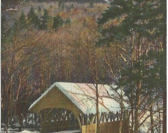 The Flume Mount Liberty and Covered Bridge At Franconia Notch, White Mountains New Hampshire Vintage Postcard