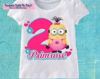 Minions Girls Printable Iron On Transfer - Custom Personalized T-Shirt Decal Design - Digital File