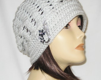 """Slouch decorated with brooch,beanie,hat,cap,light grey,made to fit most teens & adults 21-23"""""""