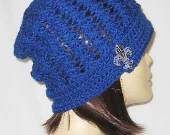 """Slouch decorated with brooch,beanie,hat,cap,royal blue,made to fit most teens & adults 21-23"""""""
